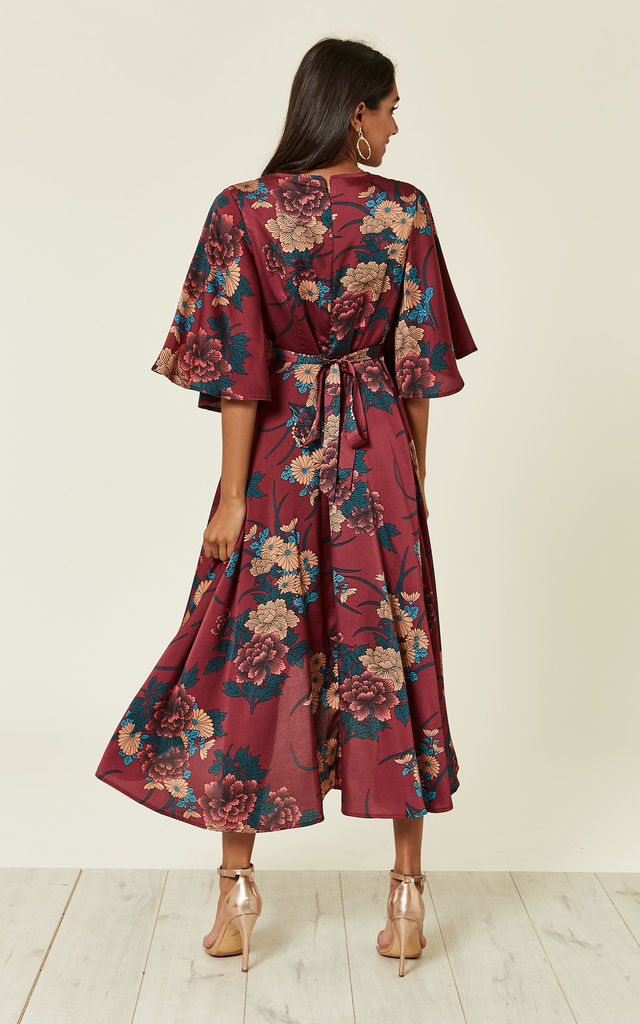 Burgundy Floral Print Wrap Dress by Liquorish