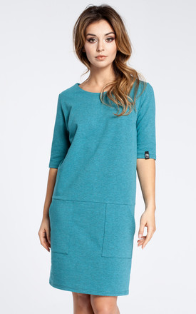 Emerald 3/4 Sleeve Simple Dress by MOE