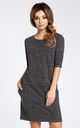 Graphite 3/4 Sleeve Simple Dress by MOE