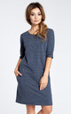 Navy Blue 3/4 Sleeve Simple Dress by MOE