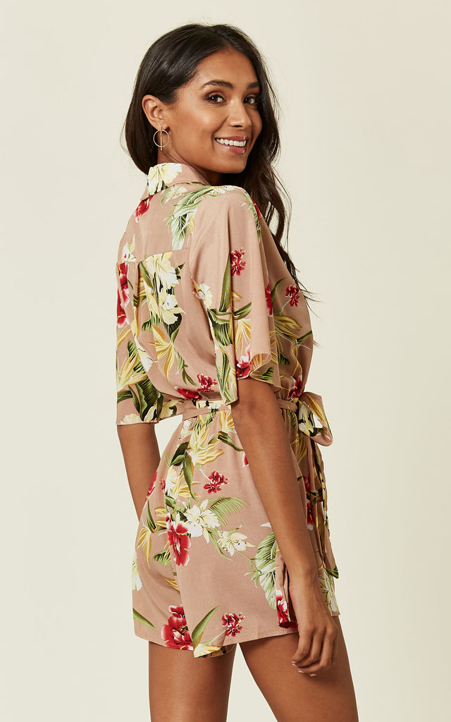 Nude Floral Print Playsuit by Oeuvre