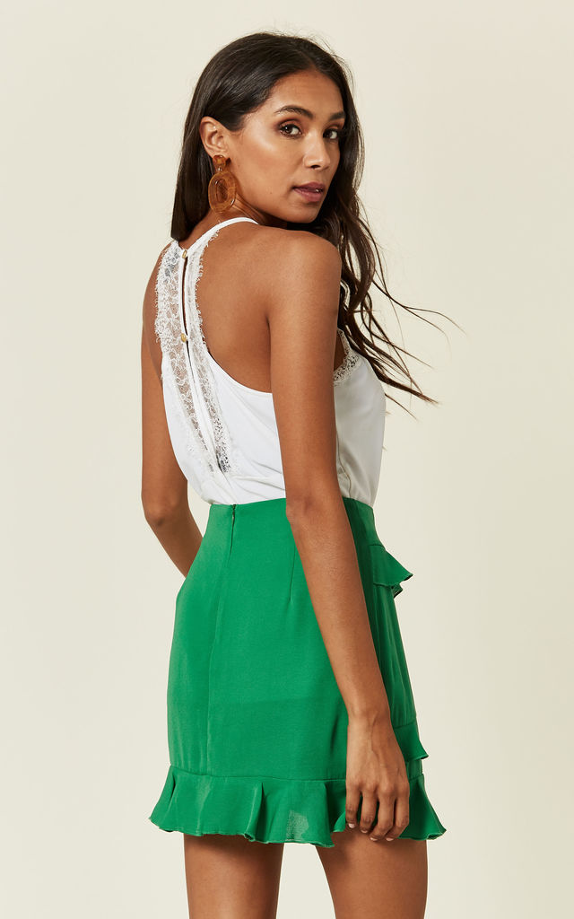Green Ruffle Mini Skirt by Oeuvre