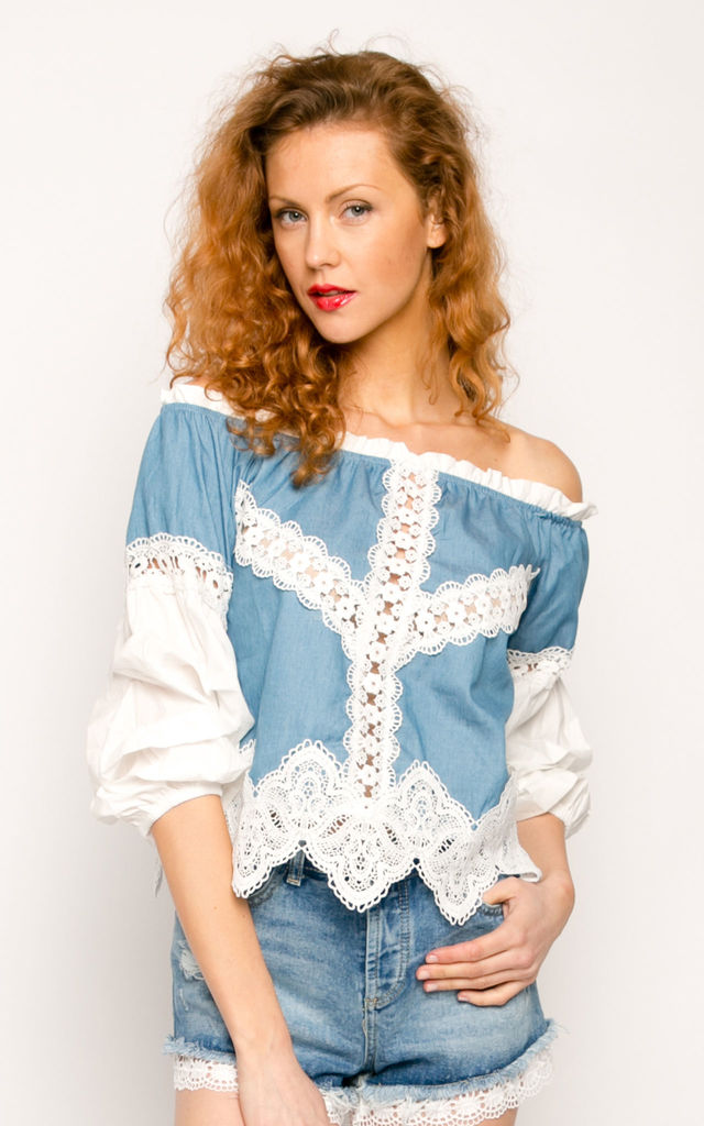 Lace embellished denim off shoulder Crop Top by CY Boutique