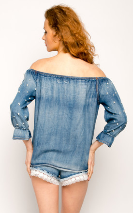 pearl embellished denim off shoulder top by CY Boutique