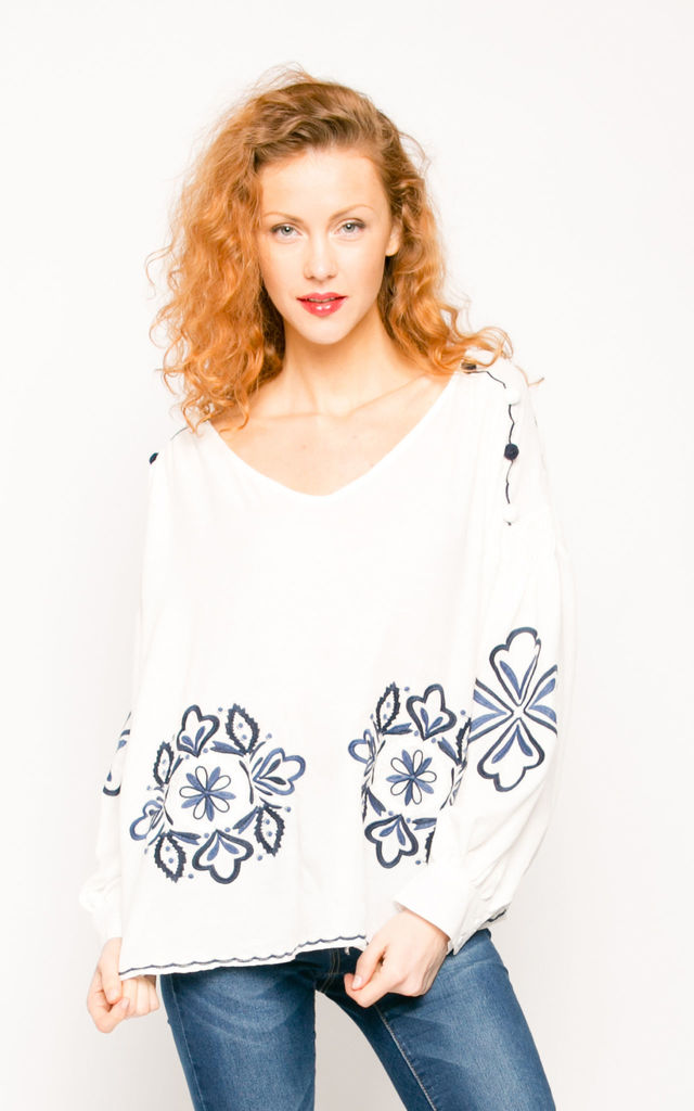 Floral Embroidered Cotton Top by CY Boutique
