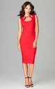 Red Sleeveless Bodycon Midi Dress With Cut Out Neckline by LENITIF