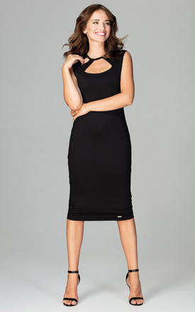 Black Sleeveless Bodycon Midi Dress With Cut Out Neckline by LENITIF