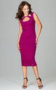 Fuchsia Sleeveless Bodycon Midi Dress With Cut Out Neckline by LENITIF