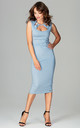 Blue Sleeveless Bodycon Midi Dress With Cut Out Neckline by LENITIF