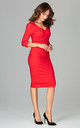 V Neck Midi Dress with 3/4 Sleeves in Red by LENITIF