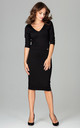 V Neck Midi Dress with 3/4 Sleeves in Black by LENITIF