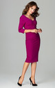 V Neck Midi Dress with 3/4 Sleeves in Berry Pink by LENITIF