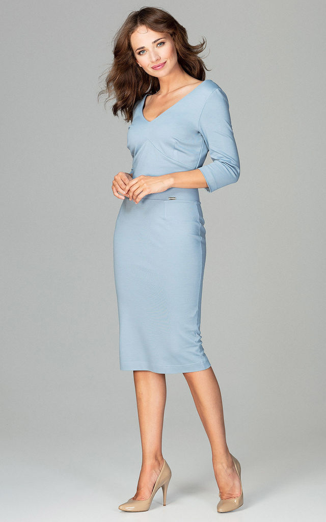 V Neck Midi Dress with 3/4 Sleeves in Light Blue by LENITIF