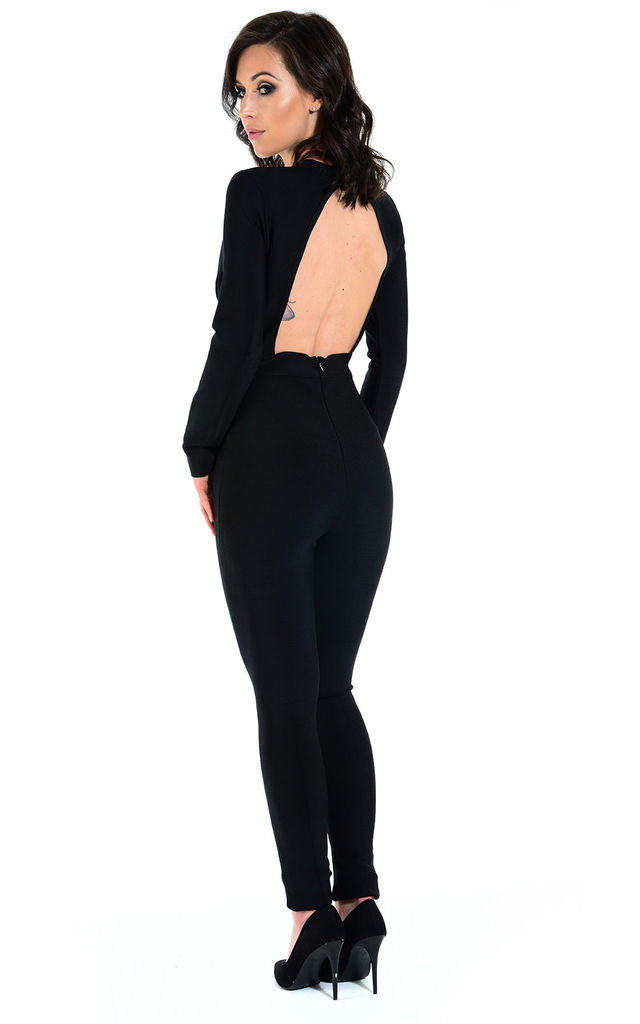 SIENNA black sexy cut out bandage jumpsuit by The Cult Boutique