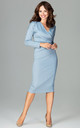 Blue Wrap Midi Dress with Long Sleeves by LENITIF