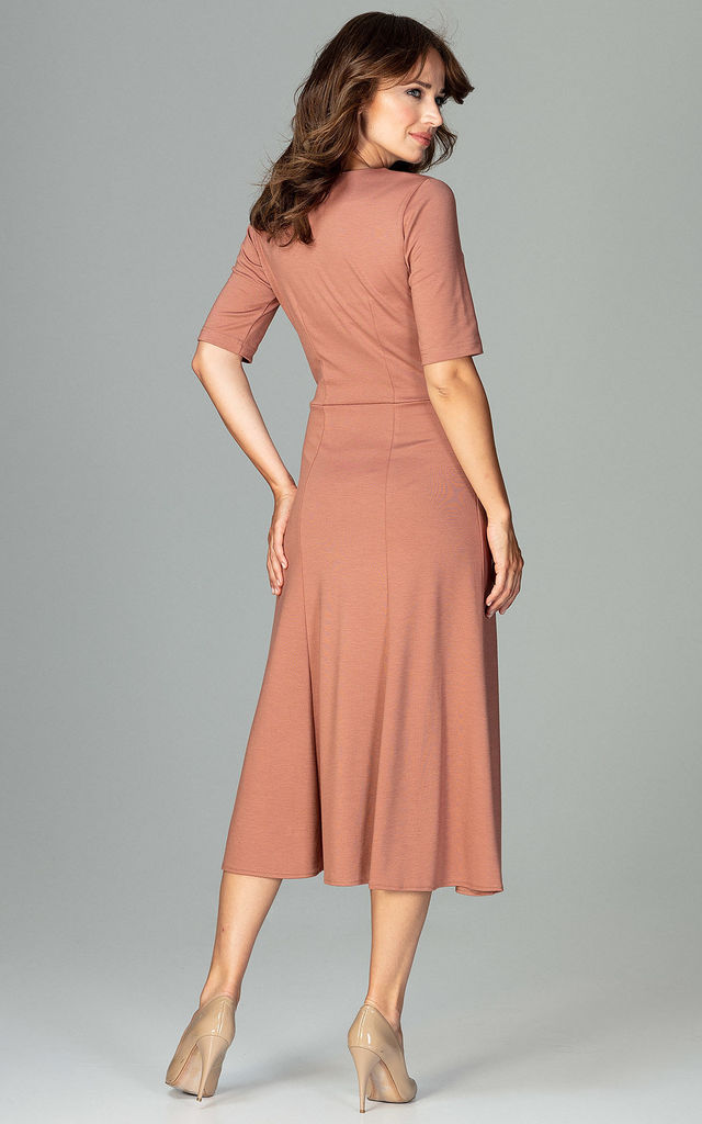Tan Nude Midi Dress With 3/4 Sleeves by LENITIF