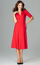 Red Midi Dress With 3/4 Sleeves by LENITIF