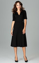 Black Midi Dress With 3/4 Sleeves by LENITIF