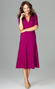 Fuchsia Midi Dress With 3/4 Sleeves by LENITIF