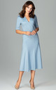 Blue Midi Dress With 3/4 Sleeves by LENITIF