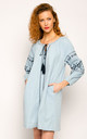 Long Sleeve Light Denim Dress with Navy Embroidery by CY Boutique