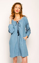 Long Sleeve Denim Dress with Navy Embroidery by CY Boutique