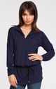 Navy Blue Long Sleeve Belted Blouse by MOE