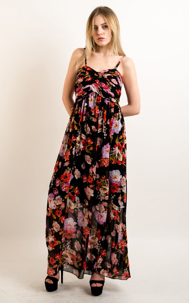 2d1e25737803 Strappy Chiffon Sweetheart Maxi Dress in Black Large Floral Print by CY  Boutique
