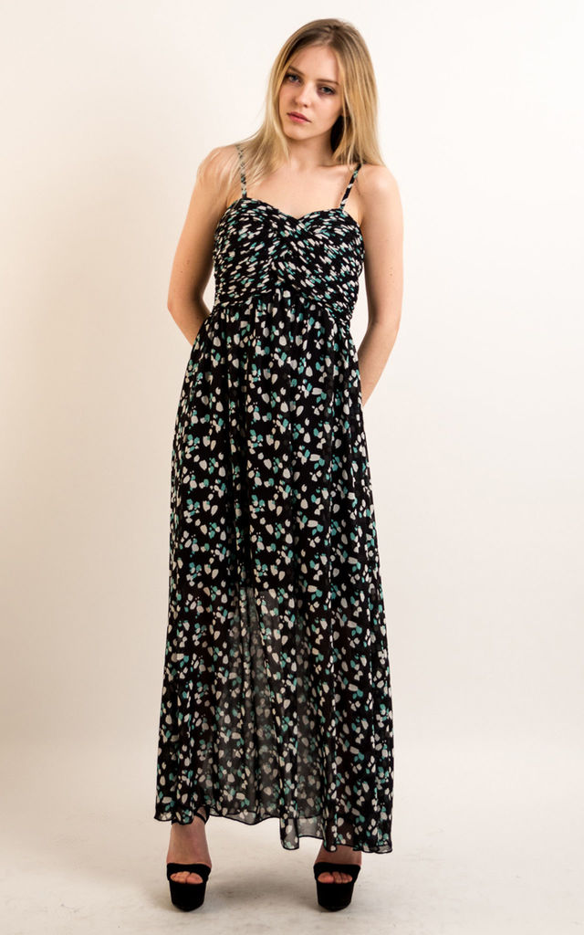 07ddab9e9681 Strappy Chiffon Sweetheart Maxi Dress in Blue Leaf Print by CY Boutique