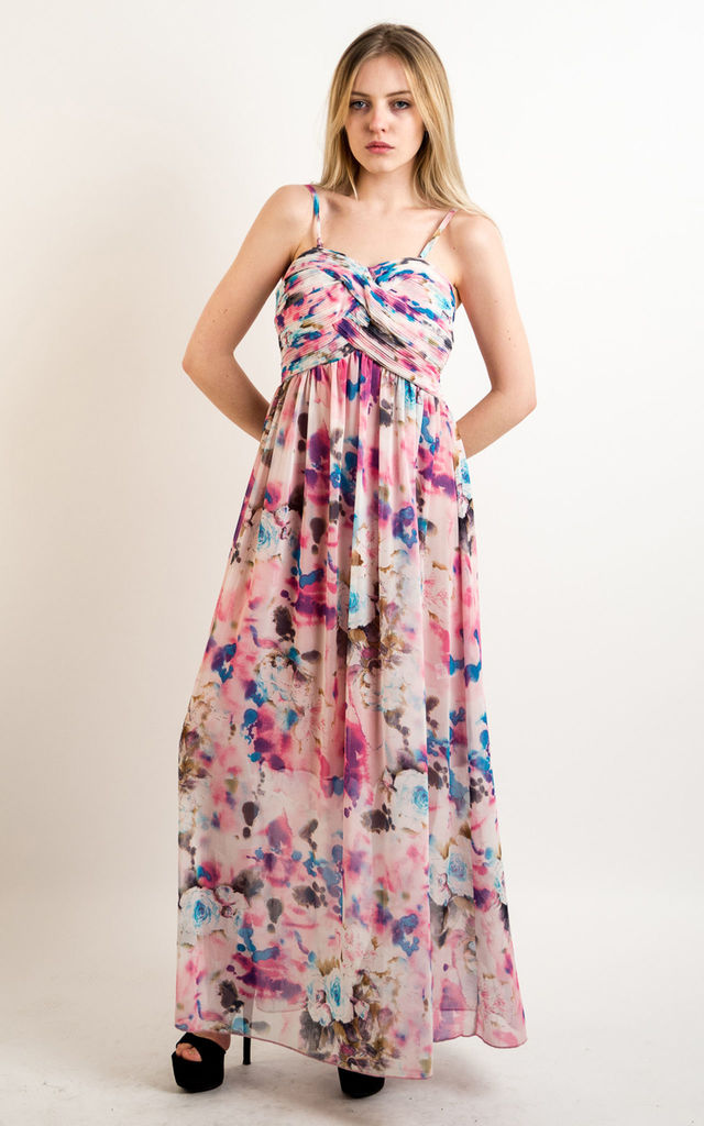 96582a25132a Strappy Chiffon Sweetheart Maxi Dress in Soft Pink and Blue Floral Print by CY  Boutique