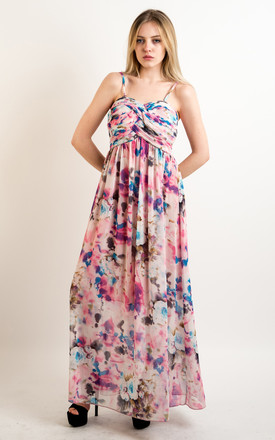 Strappy Chiffon Sweetheart Maxi Dress in Soft Pink and Blue Floral Print by CY Boutique