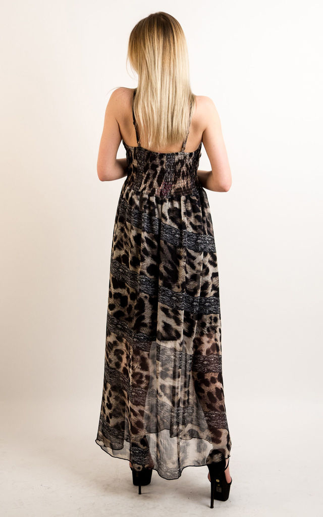 a5598e66bbc5 Printed Chiffon Sweetheart Neckline Maxi Dress in Leopard Print by CY  Boutique