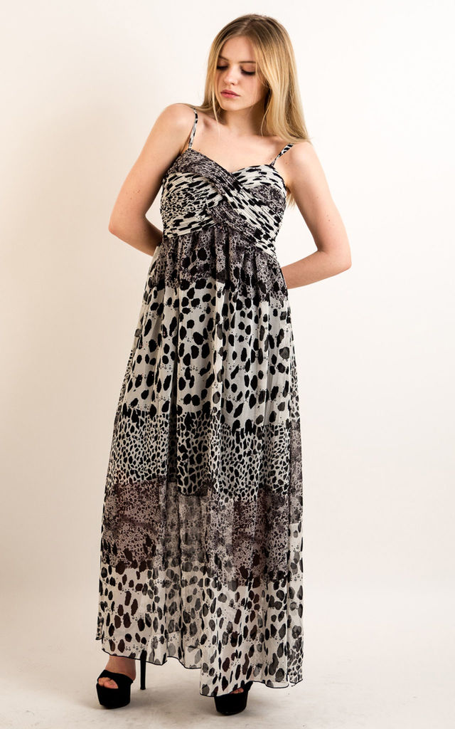 36dda561cd55 Strappy Chiffon Sweetheart Maxi Dress in Black and White Leopard Print by CY  Boutique