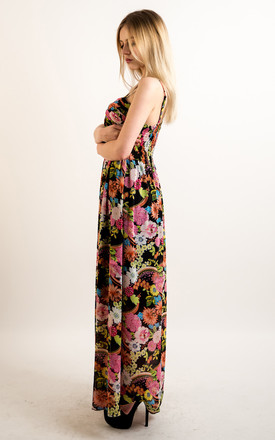 Strappy Chiffon Sweetheart Maxi Dress in Multicolour Floral Print by CY Boutique