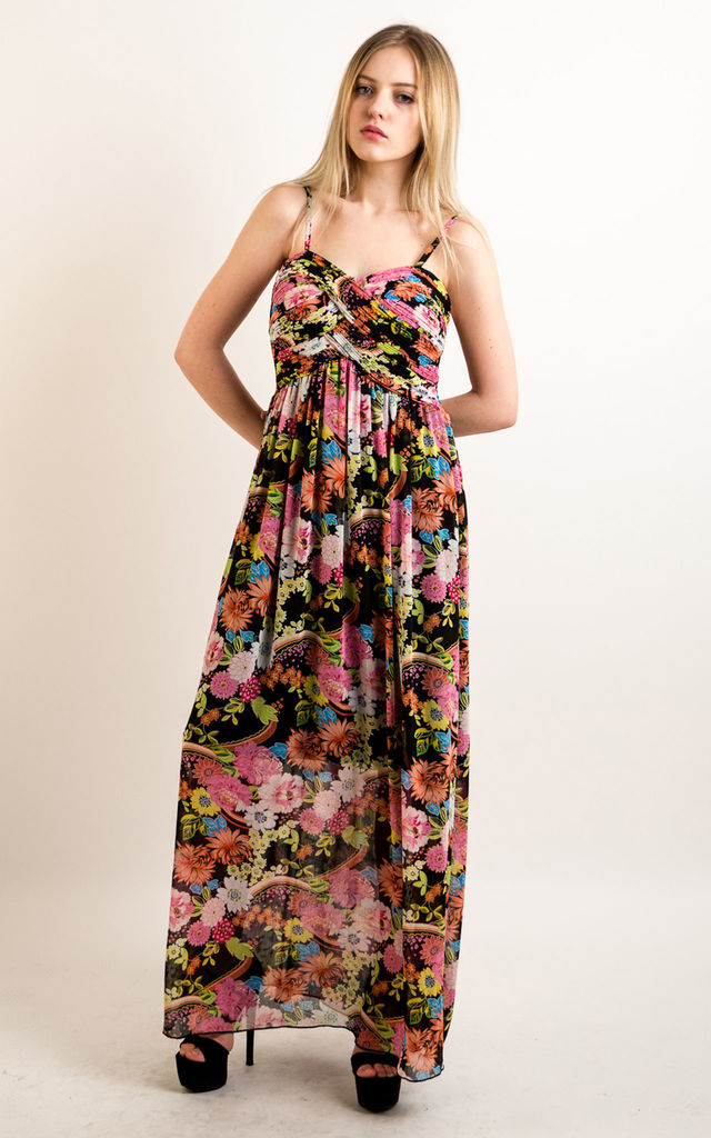 6798624ea87b Printed Chiffon Sweetheart Neckline Maxi Dress in Blue & Hot Pink Floral by CY  Boutique