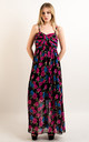Strappy Chiffon Sweetheart Maxi Dress in Pink and Blue Floral Print by CY Boutique