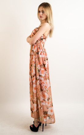 Strappy Chiffon Sweetheart Maxi Dress in Peach Floral Print by CY Boutique
