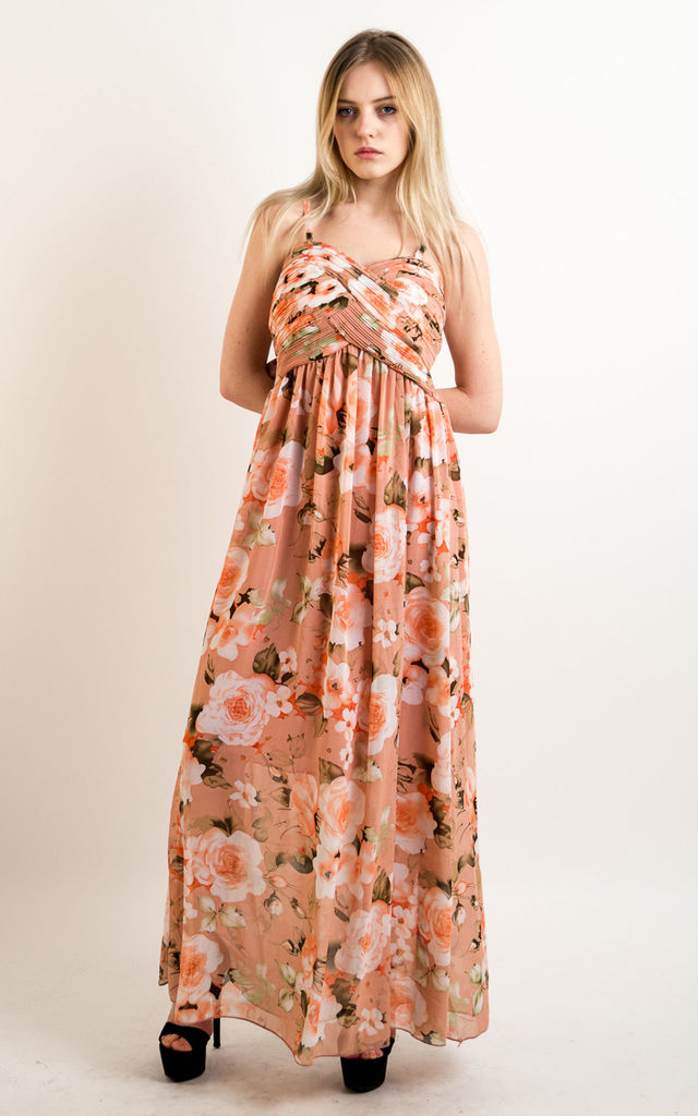 1b42fbc8a564 Strappy Chiffon Sweetheart Maxi Dress in Peach Floral Print by CY Boutique