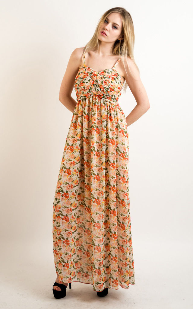 f175f64d7164 Strappy Chiffon Sweetheart Maxi Dress in Yellow and Orange Floral Print by CY  Boutique