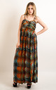 Strappy Chiffon Sweetheart Maxi Dress in Multicolour Wave Print by CY Boutique