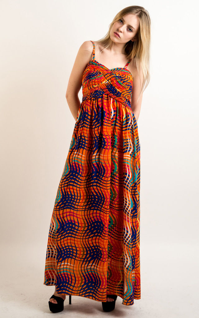 b6eb8637f85f Strappy Chiffon Sweetheart Maxi Dress in Orange Wave Print by CY Boutique