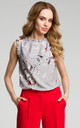 Grey Floral Frill Inserts Elegant Blouse by MOE
