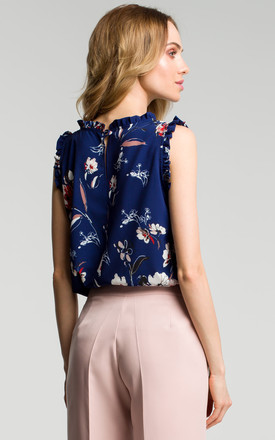 Navy Blue Floral Frill Inserts Elegant Blouse by MOE