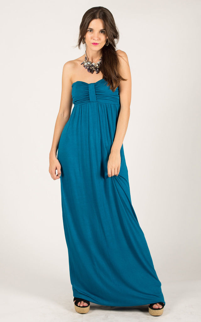 Bandeau Strapless Jersey Maxi Dress in Turquoise by CY Boutique
