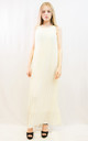Sleeveless Pleated Full Length Maxi Dress in White by CY Boutique