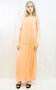 Sleeveless Pleated Full Length Maxi Dress in Orange by CY Boutique