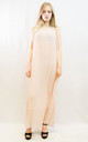 Sleeveless Pleated Full Length Maxi Dress in Nude by CY Boutique
