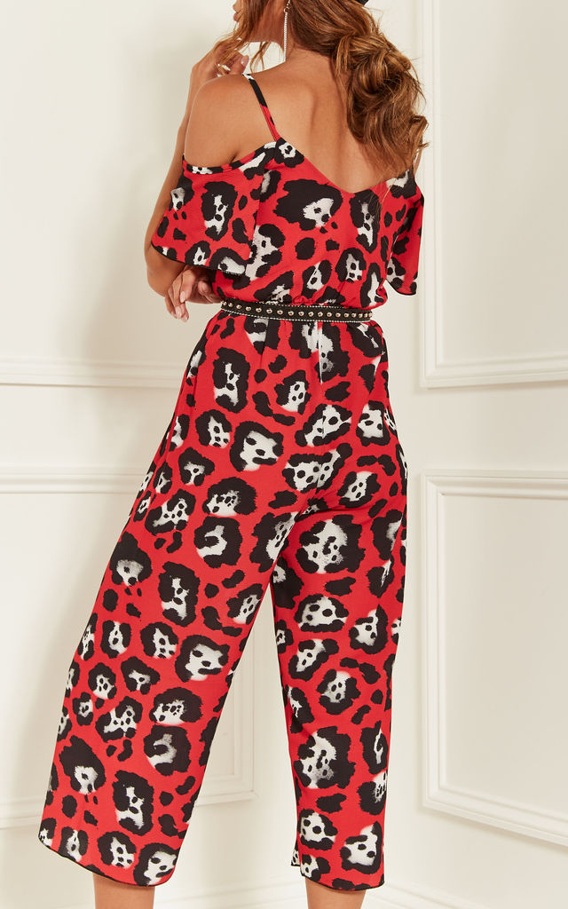 Red Leopard Print Cold Shoulder Jumpsuit by Bella and Blue