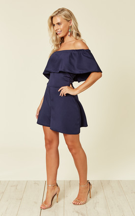 Navy Off The Shoulder Playsuit by Prodigal Fox