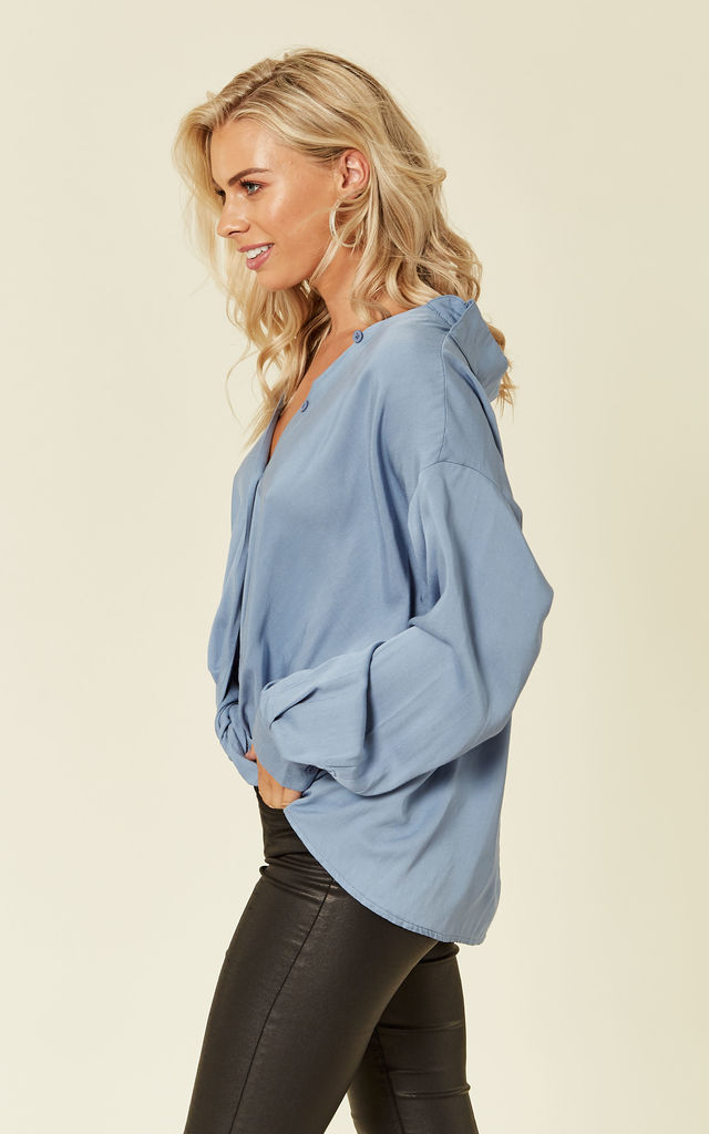 Blue Oversized Gathered Shirt by ROSELLIN